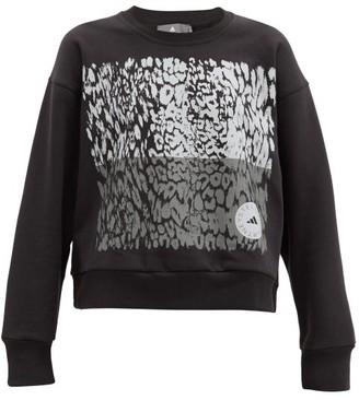 adidas by Stella McCartney Leopard-print Cotton-blend Sweatshirt - Black