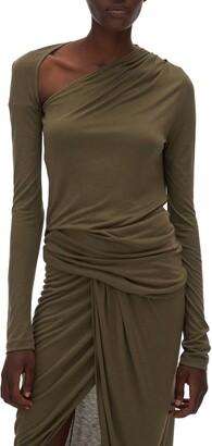 Helmut Lang Asymmetrical Long Sleeve Stretch Jersey Top
