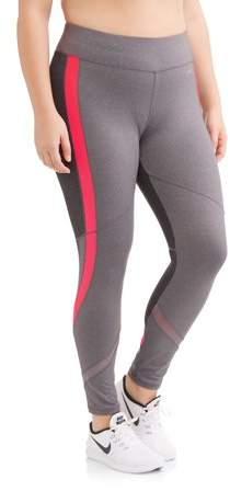 Women's Plus Size Active Full Length Racing Stripe Performance Legging
