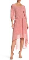 June & Hudson Ditsy Floral Print Smocked High/Low Dress