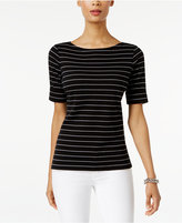 Karen Scott Elbow-Sleeve Striped Top, Created for Macy's