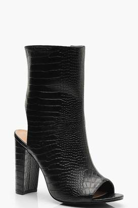 boohoo Wide Fit Croc Peeptoe Shoe Boots