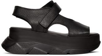 Joshua Sanders Black Leather Spice Wedge Sandals
