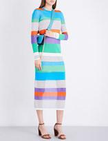 Diane von Furstenberg Colourblock striped knitted midi dress