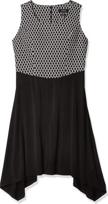 Karen Kane Women's Plus Size Diamond Contrast Handkerchief Dress