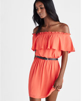 Express ruffle off the shoulder elastic waist dress