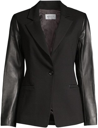 Milly Leather-Sleeve Blazer