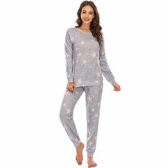 BEUHOME Women Ladies Star Print Warm Cosy Soft Fleece Pjs Pajama Set Long Sleeve Loungewear Nightwear Sleepwear Top & Bottoms Outfits Dark Gray