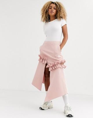 adidas x J KOO trefoil ruffle skirt in pink