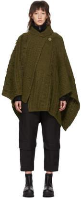Stella McCartney Khaki Cable Knit Alpaca Poncho