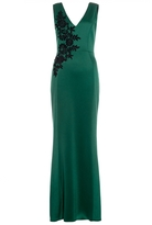 Quiz Green and Black Embroidered Fishtail Maxi Dress