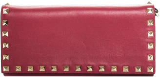 Valentino Pink Leather Rockstud Wallet On Chain