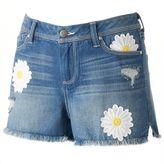 Lauren Conrad Women's Embroidered Daisy Jean Shorts