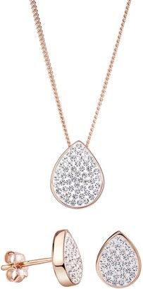 Evoke Rose Gold Plated Sterling Silver Teardrop Stud Earrings and Pendant Set