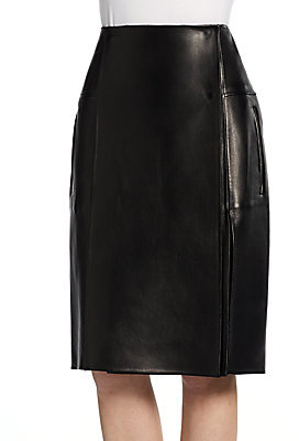 Calvin Klein Leather Wrap-Around Skirt