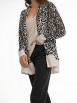 White + Warren Cashmere Leopard Print Cardigan