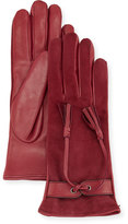 Portolano Leather & Suede Tassel Gloves, Malva
