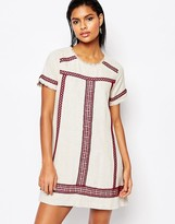 Moon River A-Line Tunic Dress with Embroidered Trim