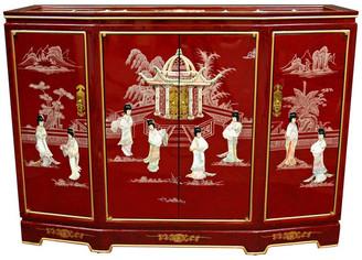 Oriental Furniture Slant Front Cabinet, Red