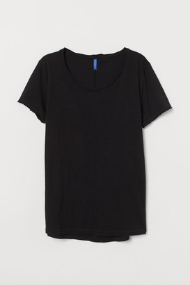H&M Raw-edge T-shirt - Black