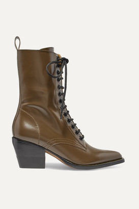 Chloé Rylee Glossed-leather Ankle Boots - Dark brown