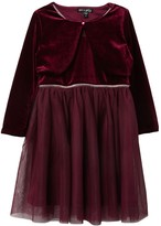 Ava And Yelly Tutu Dress & Velvet Cardigan Set (Little Girls)
