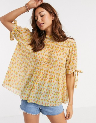 ASOS DESIGN pleated trapeze top with tie sleeves in floral