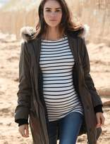 A Pea in the Pod Faux Fur Cotton Woven Maternity Jacket