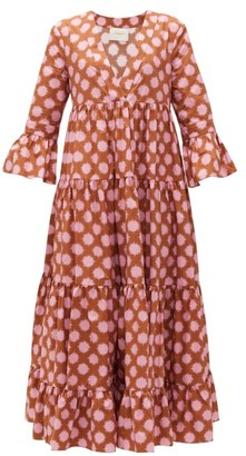 La DoubleJ Jennifer Jane Pom Pom-print Tiered Cotton Dress - Pink Print