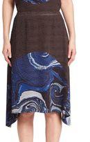 Issey Miyake Mars Pleats Printed Midi Skirt