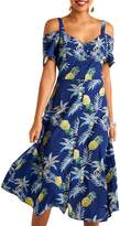 Yumi Pineapple Cold Shoulder Dress, Navy