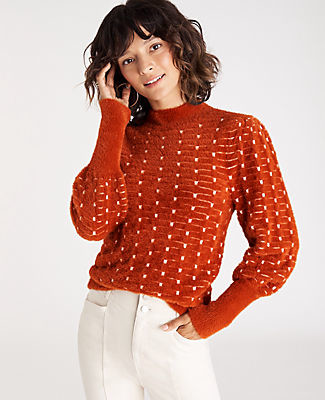 Ann Taylor Dot Jacquard Balloon Sleeve Sweater