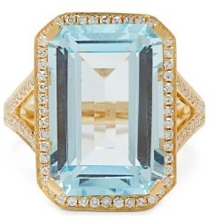 Shay Portrait Diamond, Crystal & 18kt-gold Ring - Blue Gold