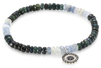 Sydney Evan Small Evil Eye 14K White Gold, Diamond, Black Diamond & Blue Sapphire Beaded Bracelet
