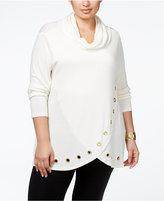 Belldini Plus Size Cowlneck Grommeted Tulip-Hem Sweater