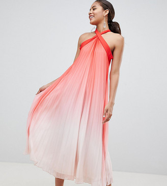 John Zack Tall High Neck Pleated Maxi Dress