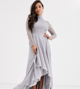 Asos DESIGN Petite maxi dress with linear embellished bodice and wrap skirt