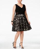 Xscape Evenings Plus Size Illusion V-Neck Fit & Flare Dress