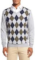 Bobby Jones Argyle Merino Wool V-Neck Sweater