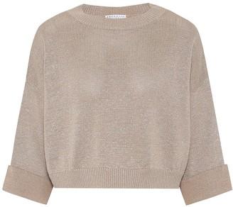Brunello Cucinelli Cropped cotton-blend sweater