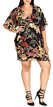 City Chic Plus City Chic Printed Faux-Wrap Dress
