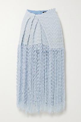 Jacquemus Capri Fringed Appliqued Tweed Midi Skirt - Light blue