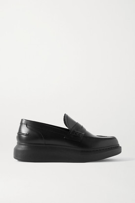 Alexander McQueen Glossed-leather Exaggerated-sole Loafers - Black