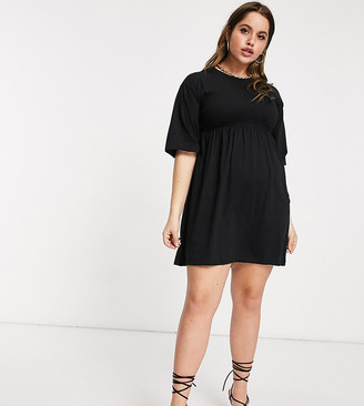 Fashionkilla Plus oversized t-shirt dress with sheering detail in black