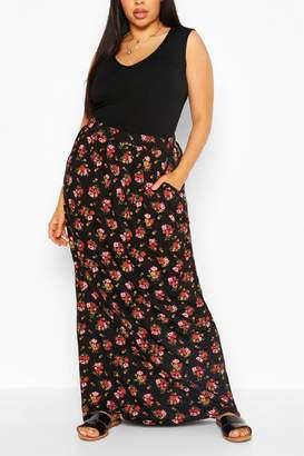 boohoo Plus Ditsy Floral Maxi Skirt