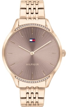 Tommy Hilfiger Women's Rose Gold-Tone Stainless Steel Bracelet Watch 36mm, Created for Macy's