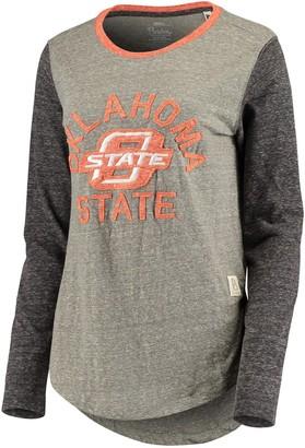Unbranded Women's Pressbox Heathered Gray Oklahoma State Cowboys Ariel Knobi Tri-Blend Long Sleeve T-Shirt