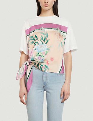 Sandro Floral-print tie-side cotton-blend T-shirt