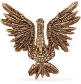 Lanvin Antiqued Gold-tone Crystal Brooch - one size