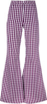 House of Holland flared gingham trousers - women - Polyester/Cotton - 6